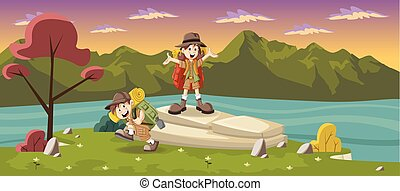 kids in explorer outfit - Cute cartoon kids in explorer...