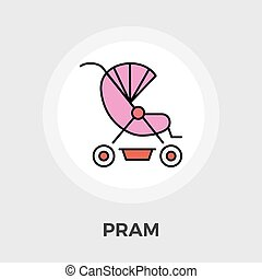 Pram vector flat icon - Pram icon vector Flat icon isolated...