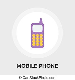 Phone flat icon - Phone icon vector Flat icon isolated on...