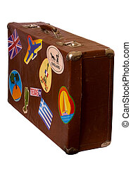 Brown old Suitcase - old brown suitcase with label on the...
