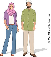 Muslim couple wearing traditional