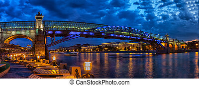 Pushkinsky (Andreevsky) bridge over Moscow river in night,...
