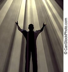 man in praise - Man holding arms up in praise against light...