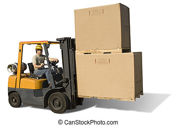 Fork Lift Isolated - Forklift with operator isolated on a...