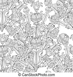 Seamless Peony bouquet. Vector. Coloring book page for...