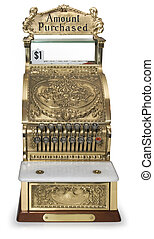 Vintage cash register front view - Front view of an ornate...