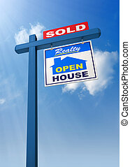 Real Estate Sign - A realestate sign showing the house as...