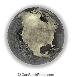 North America on Earth of oil - North America on 3D model of...