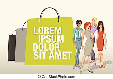paper bags and pretty women - Design template with shopping...