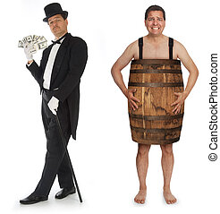 Riches to Rags - Man in tuxedo, top hat and cane fanning...