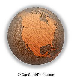 North America on wooden planet Earth - North America on 3D...
