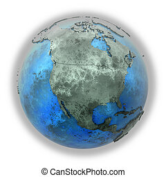 North America on marble planet Earth - North America on 3D...