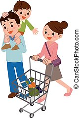 Family in shopping - Vector illustration.Original paintings...