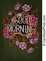 Good Morning lettering decorated with flowers