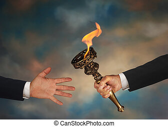 Passing the Torch - Businessmans outstretched arm passing a...