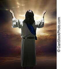 Ascention Sunday - Image of the resurrected Christ against a...