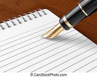 筆記, 鋼筆, 輕拍,  &