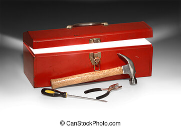 Super Handyman - Red toolbox partially opened with light...