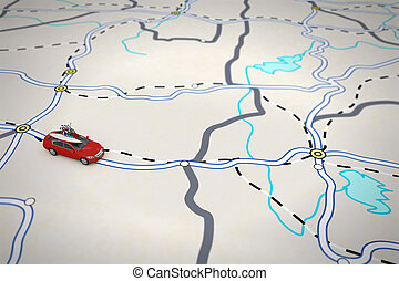 3D rendering of travel itinerary - 3D rendering of travel...