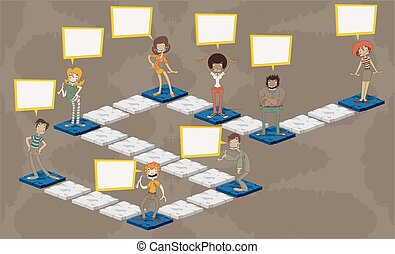 Board game with people over path