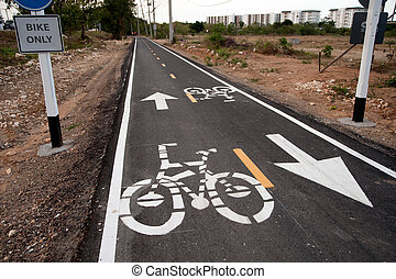 Bike lane,Thailand - Bike lane only in Khao Tao...