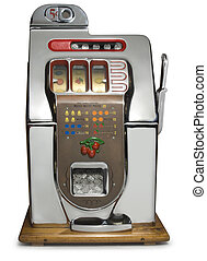 Vintage Slot Machine - Antique five cent chrome slot machine