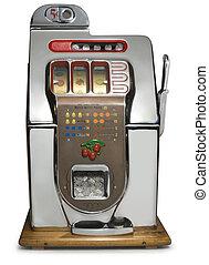 Vintage Slot Machine - Antique five cent chrome slot machine