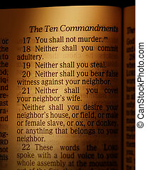 Ten Commandments - Page in the Bible showing part of the Ten...