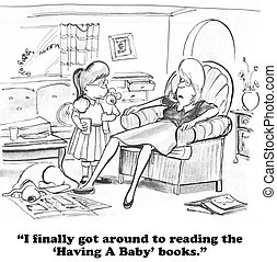 Exhausted Mom - Cartoon about a mom exhausted from reading...