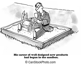 Sandbox - Business cartoon about innovation ingrained in his...