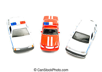 fire department and police cars on white