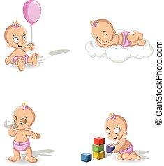 Baby girl wearing diaper