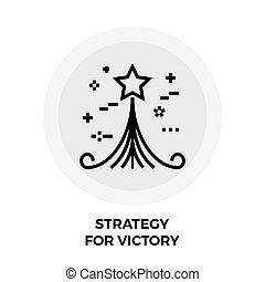 Strategy For Victory Line Icon - Strategy icon vector Flat...