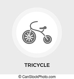 Tricycle flat icon - Tricycle icon vector Flat icon isolated...