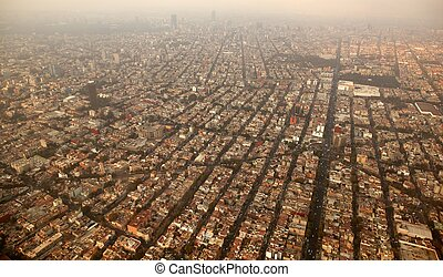 mexico df city town aerial view from airplane central...