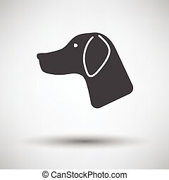 Hunting dog had icon on gray background with round shadow...