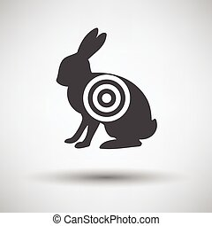 Hare silhouette with target  icon