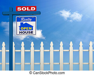 Real Estate Background - A realestate sign showing the house...