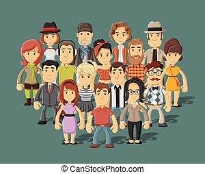 cartoon people  - Group of happy cartoon people