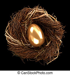 Nest Egg - Golden egg inside a nest on black background
