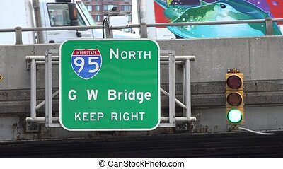 Interstate Highway and Bridge Sign