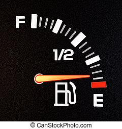 Empty Tank - A gas gauge showing empty