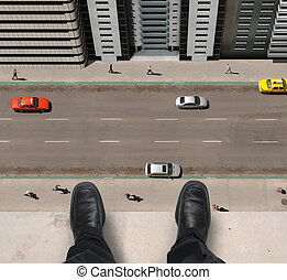 Jumper - Shoes of a businessman hanging over a ledge of a...