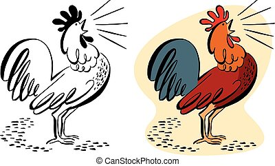 Crowing rooster Vector Clipart Illustrations. 581 Crowing ...