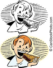 Boy Eating Pie - A smiling boy eats a slice of pie
