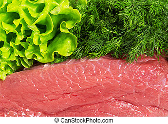 Meat fresh raw beef, dill and lettuce - Meat fresh raw beef,...