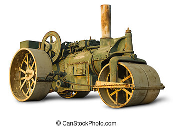 Vintage Steam Roller - Vintage steam roller isolated on...