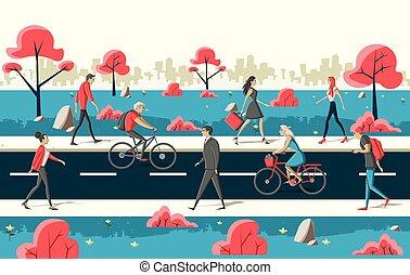 people walking on the street - Group of cartoon people...