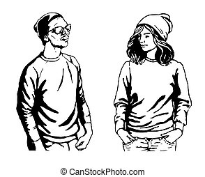 cute vector illustration of young people in stylish hipster clothes