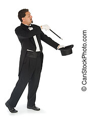 Magician on White Background - Professional magician wearing...